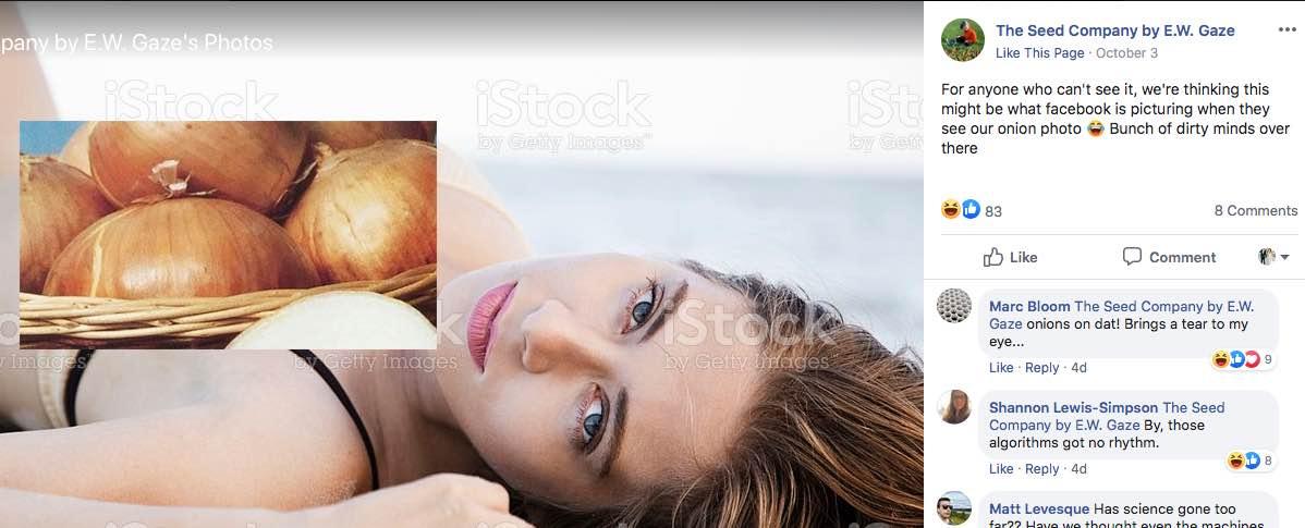 Cebule zbyt seksowne dla Facebooka
